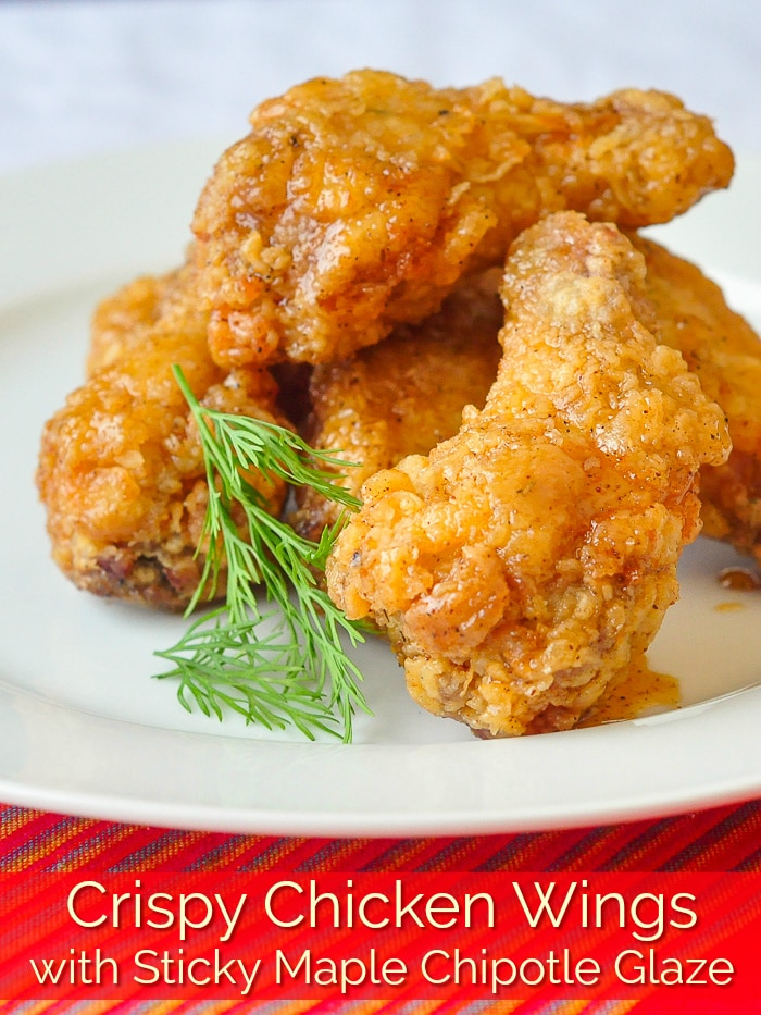 Crispy Chicken Wings with Sticky Maple Chipotle Glaze photo with title text for Pinterest