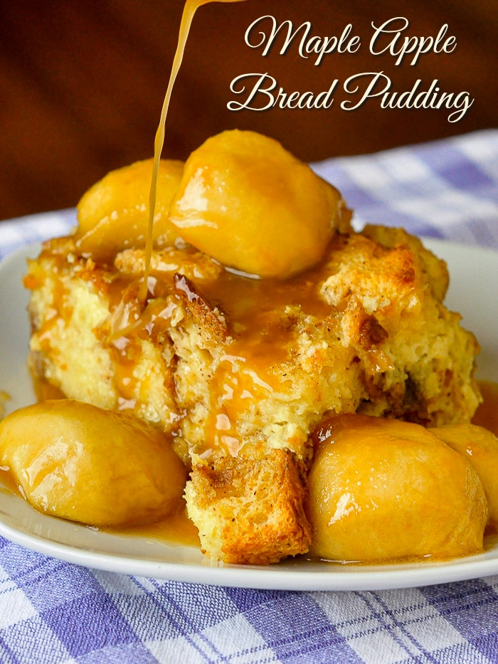 Maple Apple Bread Pudding photo with title text added for Pinterest