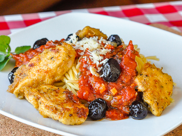 Oven Baked Fried Chicken Puttanesca with sun dried kalamata olives