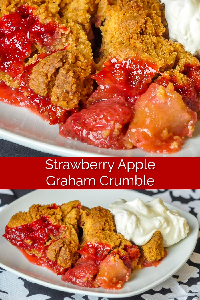 Strawberry Apple Graham Crumble image collage with title text for Pinterest