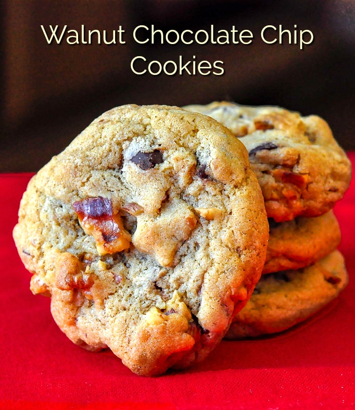 Walnut Chocolate Chip Cookies image with title text for Pinterest