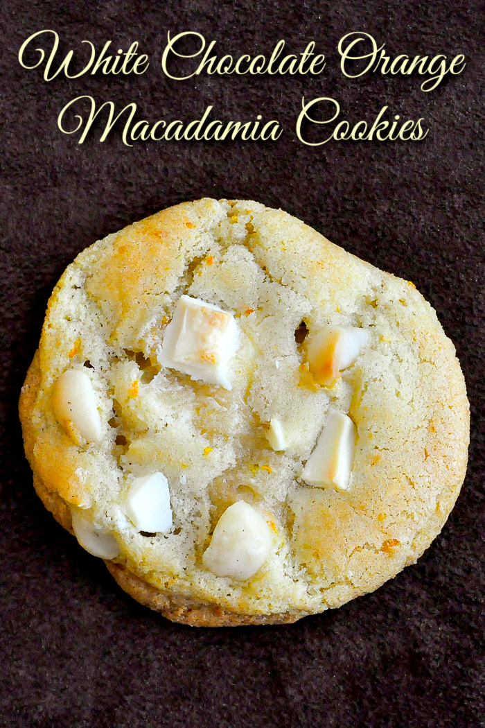 White Chocolate Orange Macadamia Cookies photo of one cookie with title text added for Pinterest