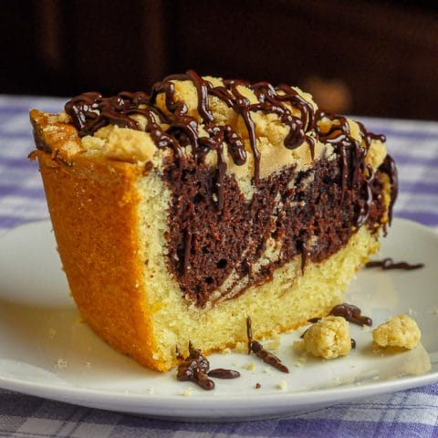 Chocolate Swirl Coffee Cake with Vanilla Crumble