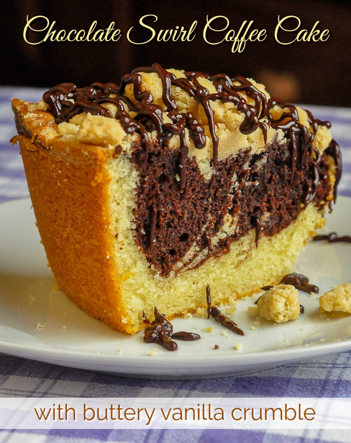 Chocolate Swirl Coffee Cake photo with title text for Pinterest