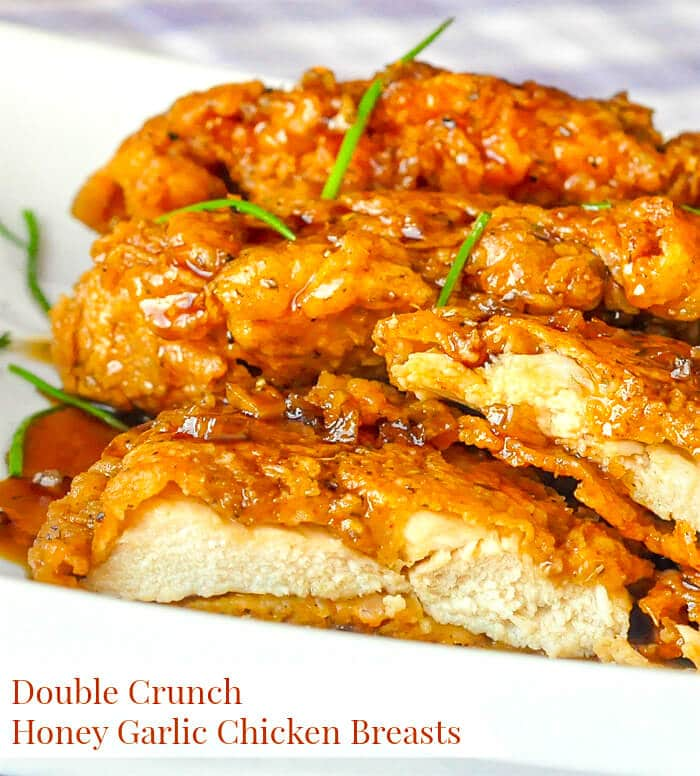 Double Crunch Honey Garlic Chicken Breasts image with title text