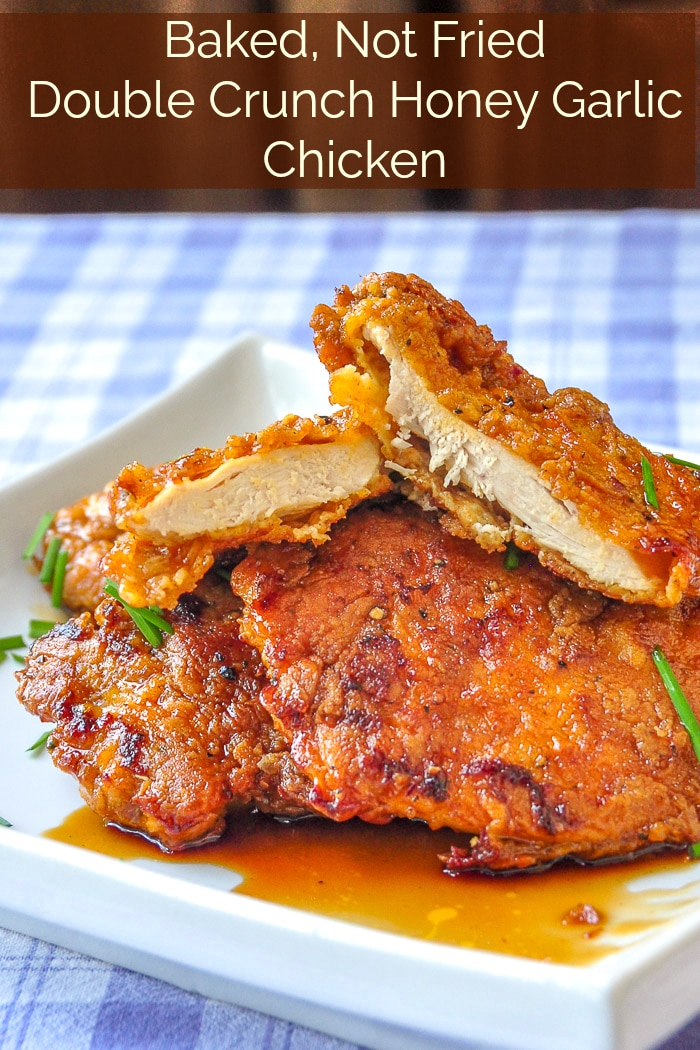 Double Crunch Honey Garlic Chicken the baked version with title text for Pinterest.