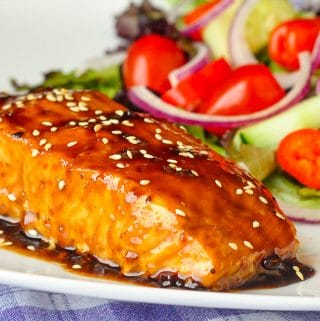Five Spice Teriyaki Salmon close up photo for post featured image