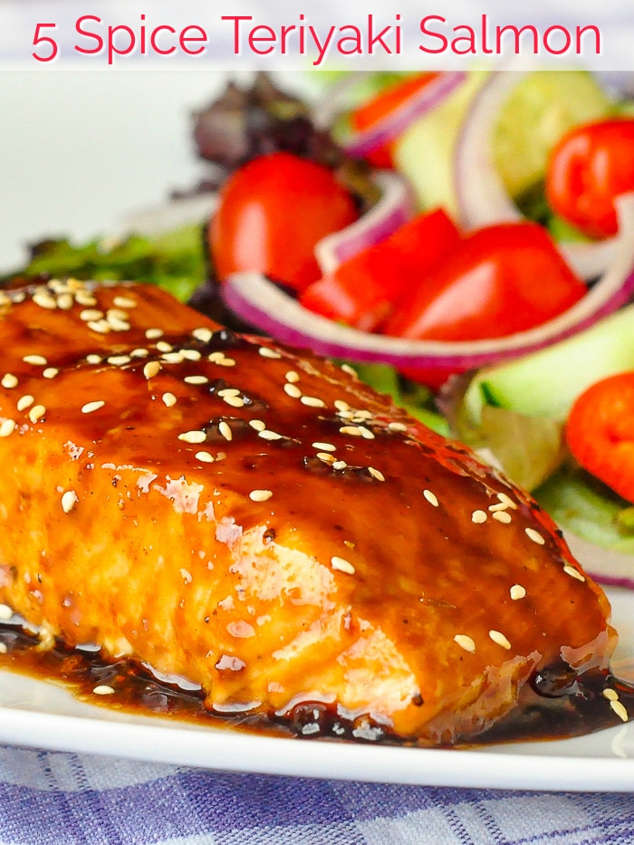 Five Spice Teriyaki Salmon photo with title text for Pinterest