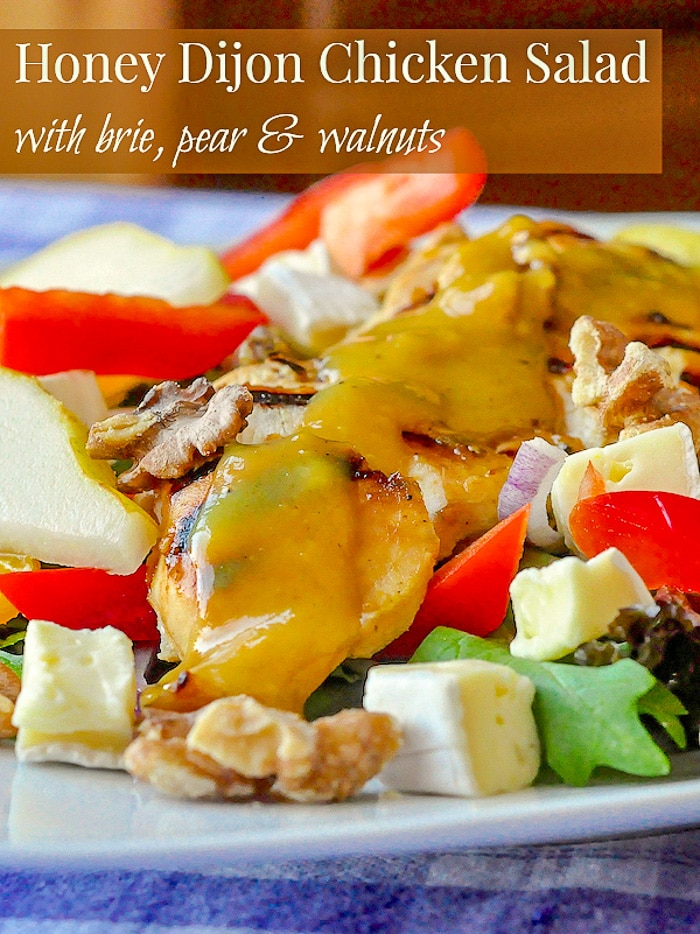 Honey Dijon Chicken Salad with Brie and Walnuts photo with title text for Pinterest