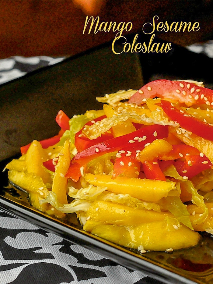 Mango Sesame Coleslaw photo with title text for Pinterest