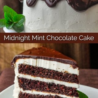 Midnight Mint Chocolate Cake photo collage with title text for Pinterest