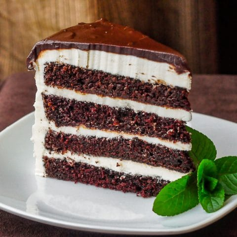 Midnight Mint Chocolate Cake photo of single slice on a white plate with mint garnish