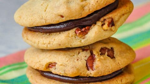 Pecan Chocolate Sandwich Cookies close up photo of two cookies stacked.