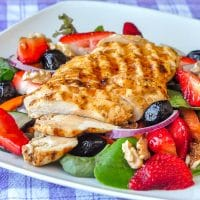 Strawberry Balsamic Salad with Grilled Lime Cumin Chicken and Walnuts