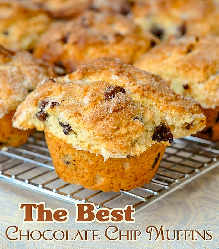 The Best Chocolate Chip Muffins photo with title text for Pinterest