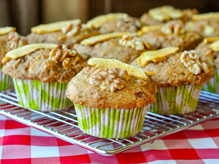 Walnut Apple Muffins cooling on a wire rack