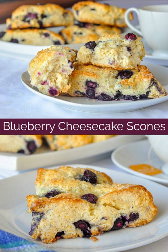 Blueberry Cheesecake Scones Photo collage with title text for Pinterest