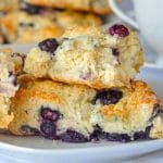 Blueberry Cheesecake Scones close up photo.