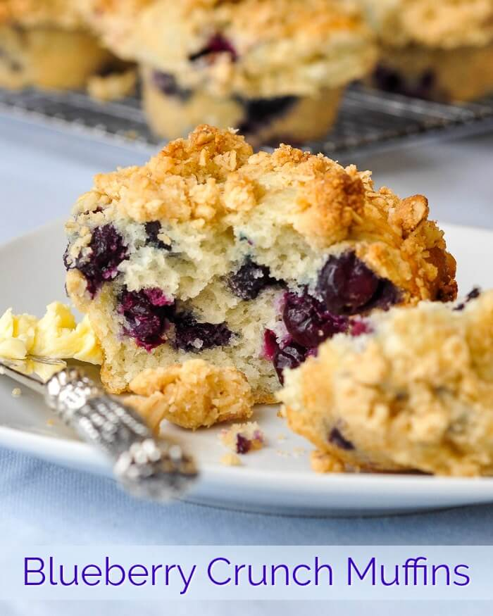Blueberry Crunch Muffins image with Title Text