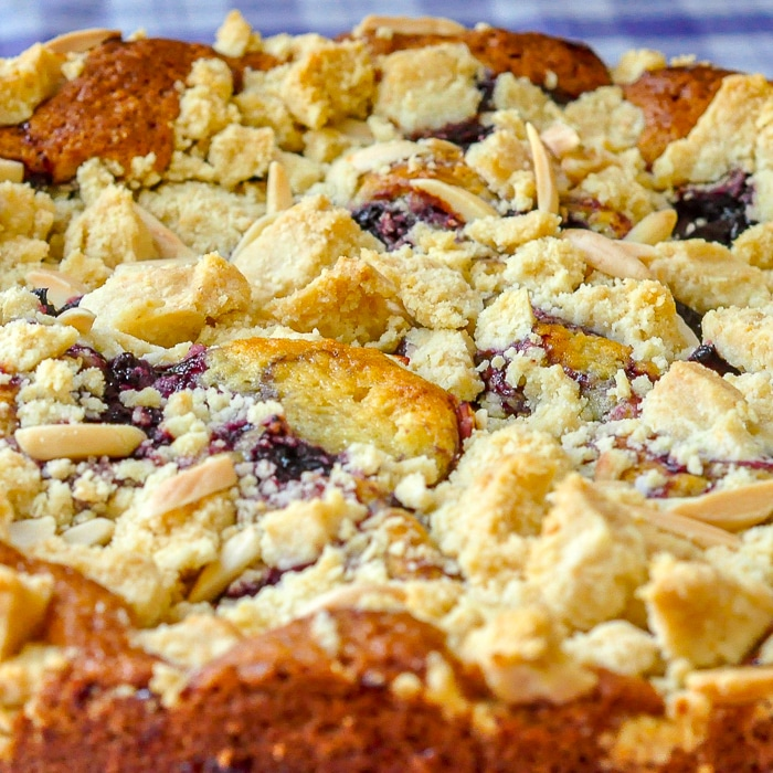 Cherry Swirl Almond Crumble Coffee Cake close up photo of crumble topping