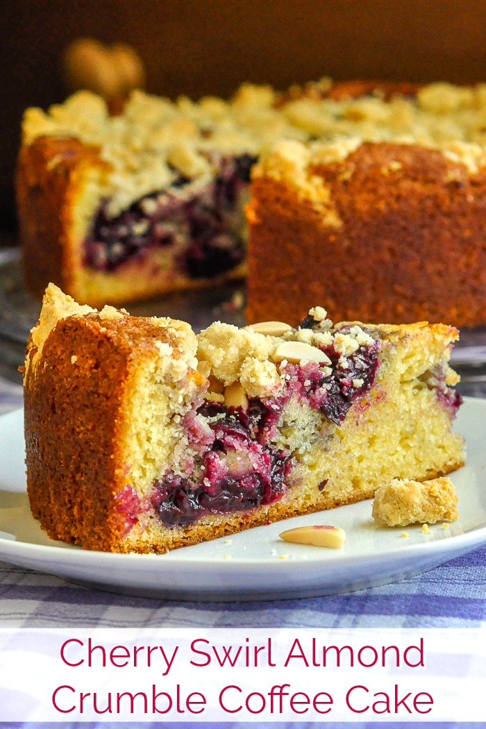 Cherry Swirl Almond Crumble Coffee Cake image with title text for Pinterest