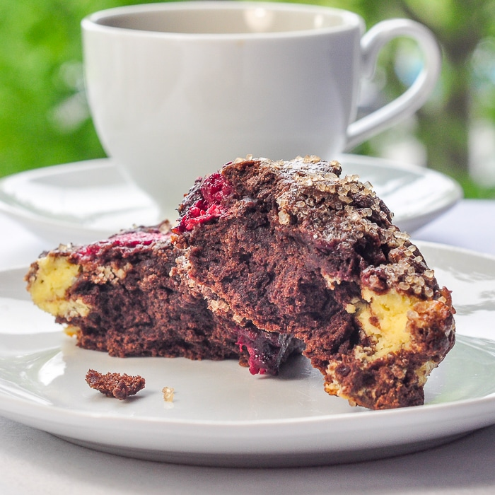 Chocolate Raspberry Cheesecake Scones broken in half to show inside