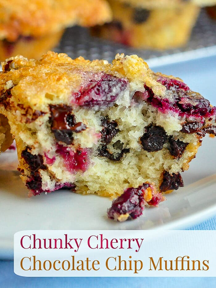 Chunky Cherry Chocolate Chip Muffins image with title text