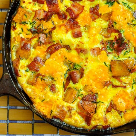 Potato Bacon Cheddar Frittata -This delicious frittata is an ideal, easy brunch idea. This recipe uses potatoes but leftover cooked pasta works too.