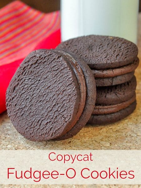 Fudge Sandwich Cookies photo with title text for Pinterest