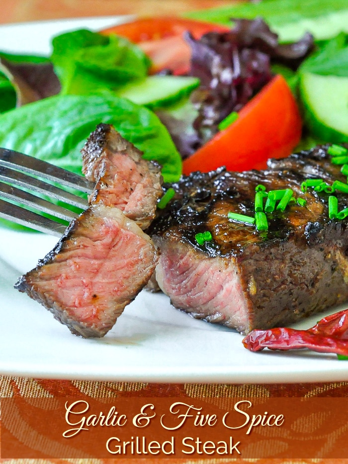 Garlic and Five Spice Grilled Steak photo with title text added for Pinterest