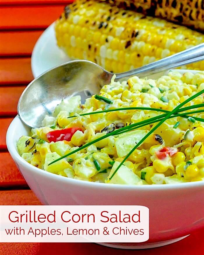 Grilled Corn Salad with Apples, Lemon & Chives image with title text