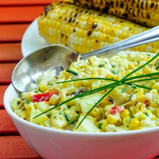 Grilled Corn Salad with Apples, Lemon and Chives