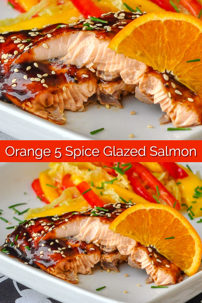 Orange Five Spice Glazed Salmon Image with title text for Pinterest