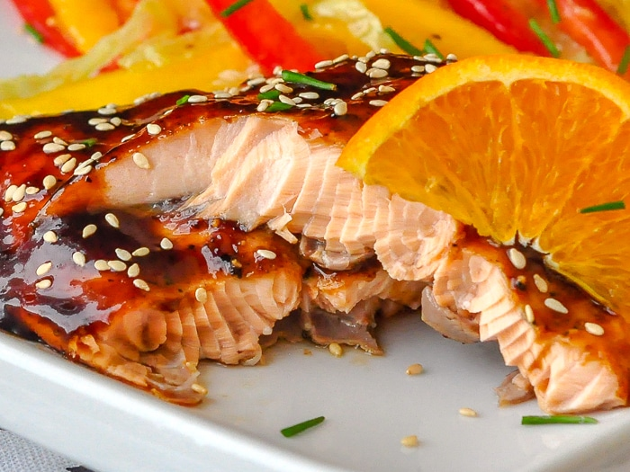Orange Five Spice Glazed Salmon close up photo