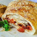Turkey Club Stromboli close up shot of filling.
