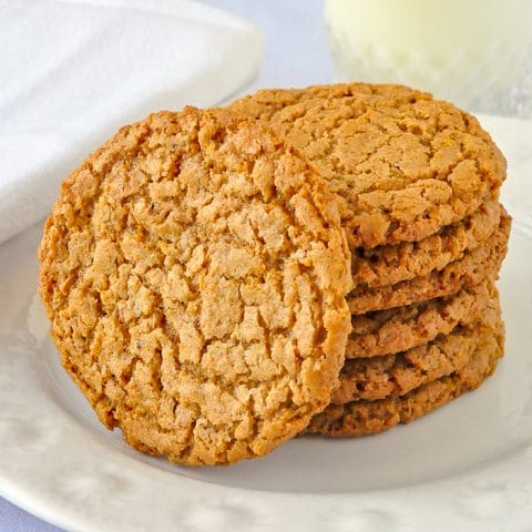 Auntie Crae's Plantation Chews close up of a stack of cookies on a white plate.