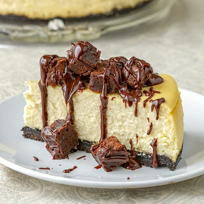 Brownie Cheesecake. Picture of a cut slice.