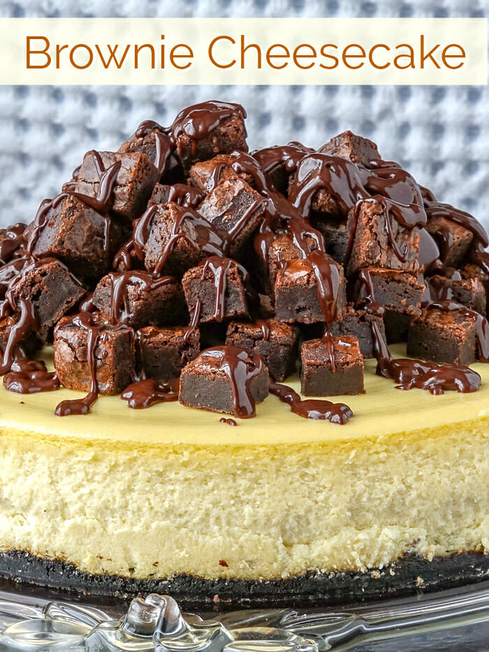 Brownie Cheesecake image with title text