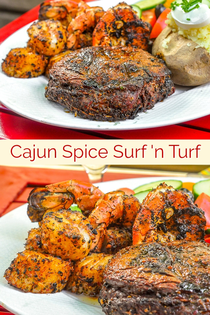 The Best Cajun Spice Rub. This versatile spice rub goes from grilled rib eye steaks to fresh seafood, like scallops & shrimp, with delicious, versatile ease. Make it one of your summer grilling secrets. #grilling #barbecue #surfandturf #fathersday #fathersdaydinner