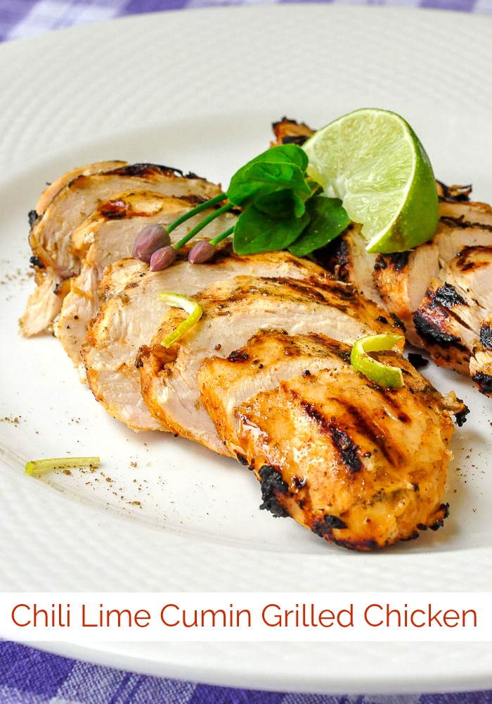 Chili Lime Cumin Grilled Chicken photo with title text added for Pinterest