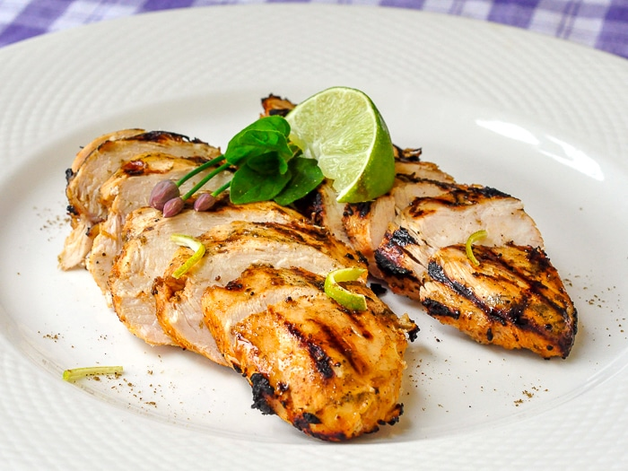 Chili Lime Cumin Grilled Chicken wide shot photo on a white serving platter