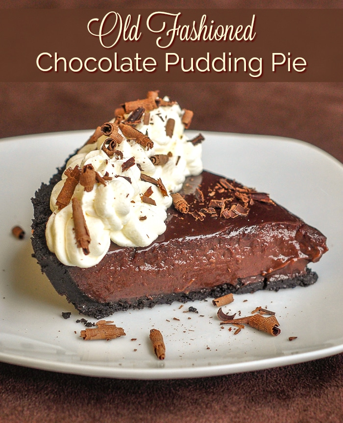 Chocolate Pudding Pie image with title text for Pinterest