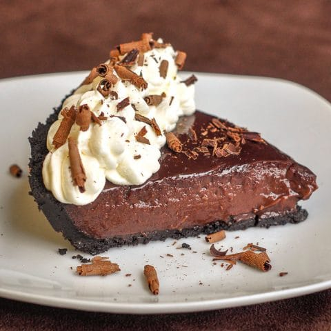 Chocolate Pudding Pie photo of a single slice on a white plate