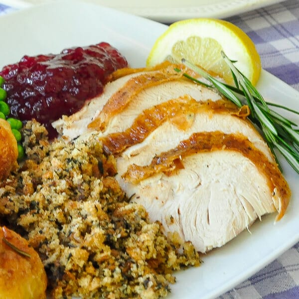 Lemon Rosemary Brined Roasted Turkey