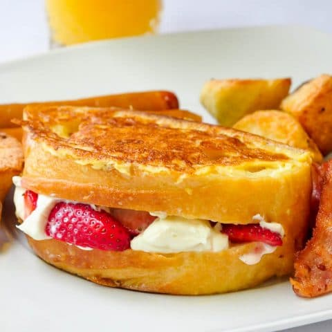 Strawberry Cointreau Cream Cheese Stuffed French Toast