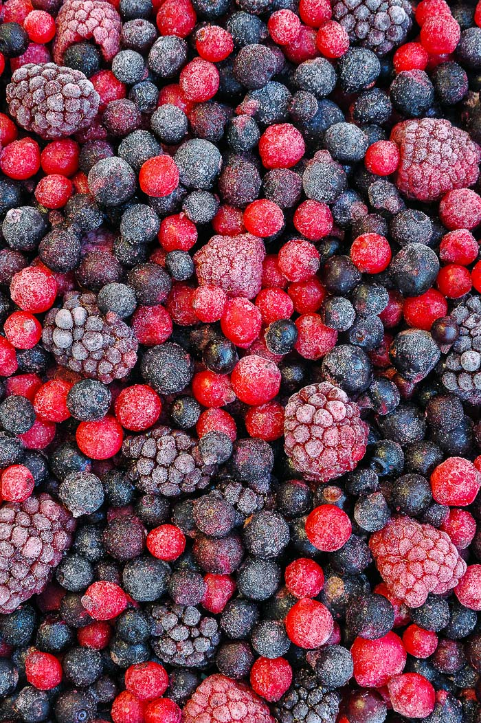 Stock photo of frozen mixed berries.