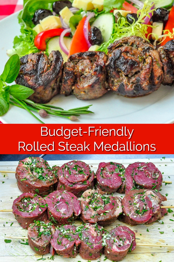 Herb and Garlic Rolled Steak Medallions image collage with title text for Pinterest