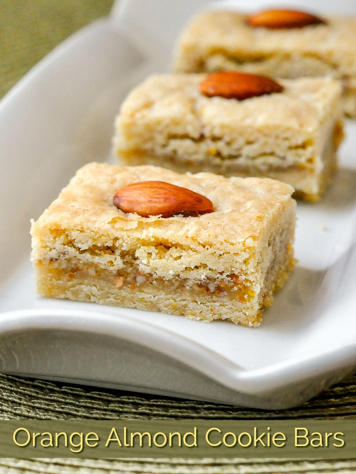 Orange Almond Cookie Bars photo with title text added for Pinterest
