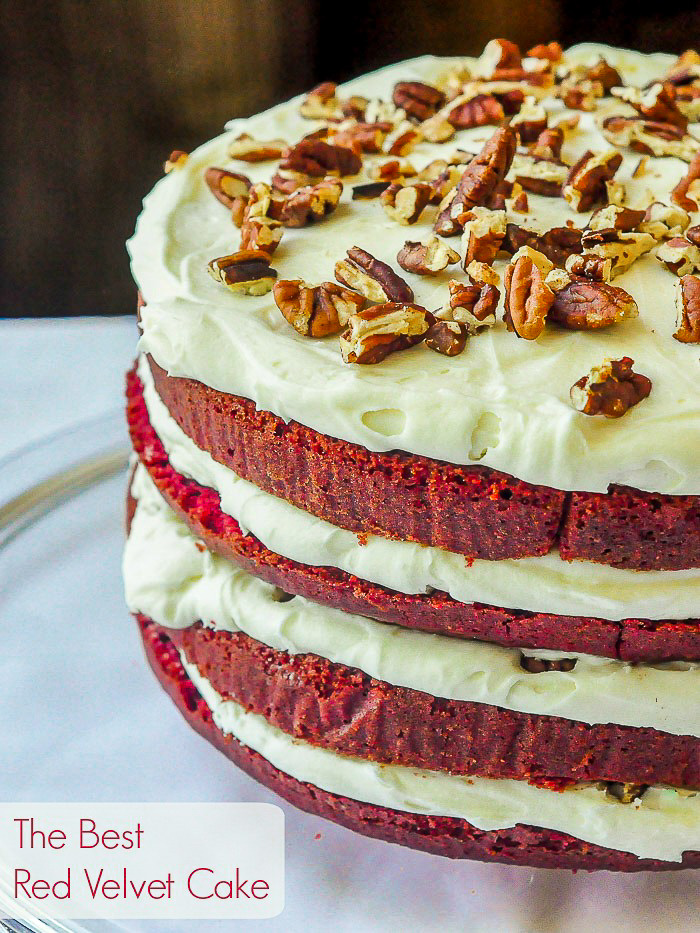 Photo of uncut Red Velvet Cake with title text added for Pinterest
