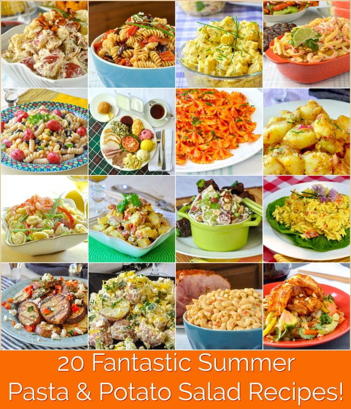Summer Pasta Salad and Potato Salad Collage